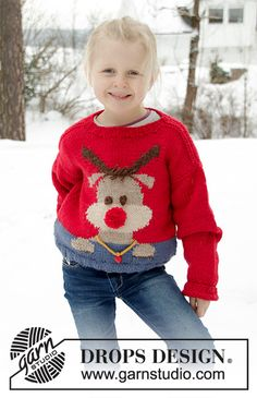 Red nose jumper kids / DROPS children - free knitting patterns by DROPS design Knitted sweater for children in DROPS Nepal. The work is knitted with reindeer. Knitting Patterns Boys, Jumper Knitting Pattern, Baby Boy Knitting, Jumper Patterns, Christmas Knitting Patterns, Kids Patterns, Knitting For Kids, Free Knitting, Crochet Patterns