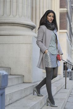 Coat: Banana Republic Monogram, Top: Wilfred for Aritzia, Skirt: Lucca Couture, Tights: Hanes, Shoes: Nine West, Wallet/Clutch: Kate Spade, Bracelet: Suzanna Dai, Snood: New York & Company