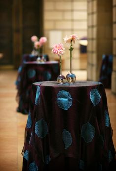 Dahlia with Zinnia Linen from BBJ Linens at  corporate event at the Philadelphia Art Museum {Design: TableArt}
