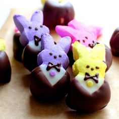 Chocolate Dipped Peeps...  OK, that sounds kinda yummy and i don't even like eating peeps.  Lol