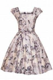 Lady V Grey Rose Floral 50s Swing Dress