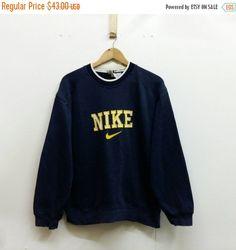 dfe36bbc31d69 DESCRIPTION (369) Vintage NIKE cavalier Small 90 Streetwear Nike Swoosh  sort Nike broderie pull