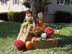 decorating with hay bales for fall - Google Search