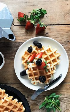 These perfect waffles are crisp on the outside and soft & airy on the inside, making them the ideal start to a lazy Sunday morning. | Food Well Said