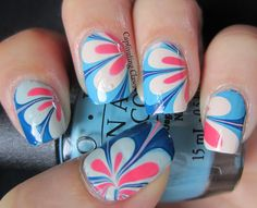 Cool flower water marbled nails