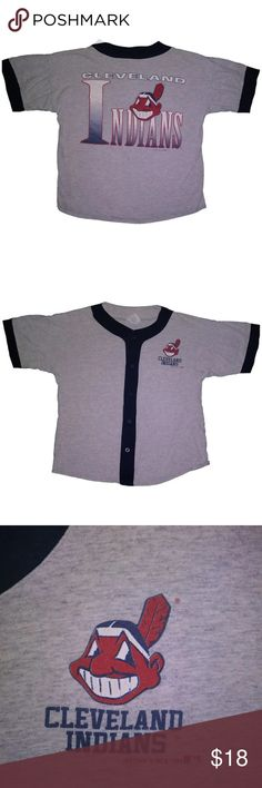"""Vintage 1991 Cleveland Indians Jersey Perfect classic 90s Cleveland Indians baseball jersey. In very good vintage condition. Soft, thick cotton button down. Tag is a medium in men's, but I'd consider it unisex.  21.5"""" pit to pit, 24"""" top to bottom 8/10 condition, general wear from age  #cleveland #indians #clevelandindians #mlb #baseball #sports #vintage #retro #90s #unisex #ohio #13 Vintage Shirts Tees - Short Sleeve"""