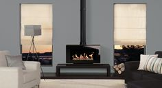 wood burner for living room. This Freestanding stove version of the Stovax Riva™ Studio 2 wood Gas Stove Fireplace, Open Fireplace, Double Sided Stove, Wood Burning Logs, Modern Stoves, Freestanding Fireplace, Log Burner, Small Living, Architecture