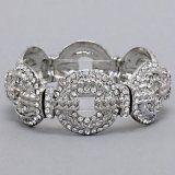 $7.99 Sale #cybermonday #stockingstuffer Amazon.com: Designer Inspired Silver Crystal Bracelet, Stretch with Circle Patterns: Jewelry