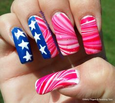 Glittery Fingers & Sparkling Toes: Memorial Day Manicure Stars, Stripes & Water Marble