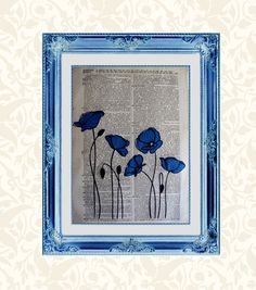 Items similar to Blue Poppies Vintage Dictionary Page Art on Etsy