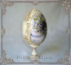 """Купить яйцо Пасхальное """"незабудки"""" - яйцо пасхальное, яйцо декупаж, яйцо деревянное, незабудки, винтаж"""