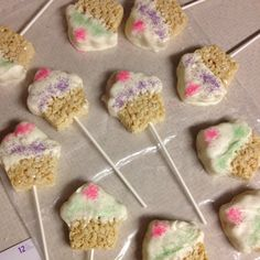 White chocolate rice crispy Treats for the kids at Kynlee's Birthday party
