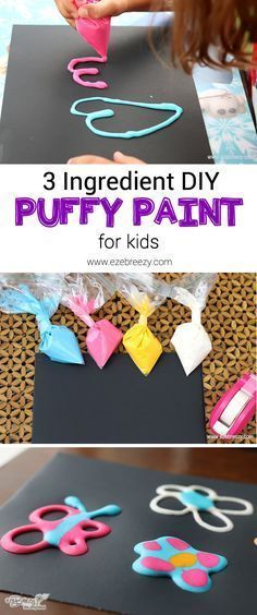 simple 3 ingredient puffy paint recipe is so easy the kids will love making it AND using it! - ezeBreezy Life SimplifiedThis simple 3 ingredient puffy paint recipe is so easy the kids will love making it AND using it! Toddler Crafts, Toddler Activities, Crafts To Do, Arts And Crafts, Puffy Paint Crafts, Diy Kids Paint, Puff Paint Diy, Craft Paint, How To Make Paint