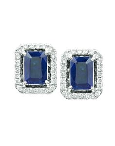 14KT White Gold Sapphire Earrings