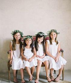 Sweet flower girls in white- esp like the herb/ greenery crowns for a vineyard wedding Flower Girls, Flower Girl Wreaths, White Flower Girl Dresses, Girls Dresses, Hair Wreaths, Flower Crowns, Bridesmaid Flowers, Wedding Bridesmaids, Wedding Dresses