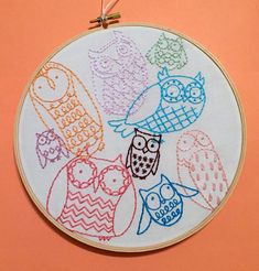Owls collage hand embroidery hoop birds colorful art owl art