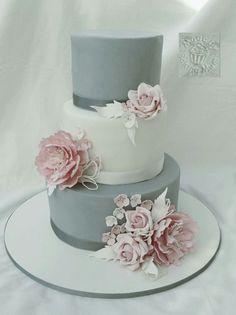 Grau weiß mit rosa blumen