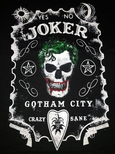 "The Joker ""YES-NO, CRAZY-SANE"". Black, short sleeve T-shirt"