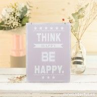 "Placa metálica rosa ""Think happy be happy"" #decoration #pink #quote"