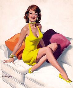 Pin-Up Girl Wall Decal Poster Sticker - Redhead in Yellow Dress, Feet on Couch - Red Hair Pinup Pin Up