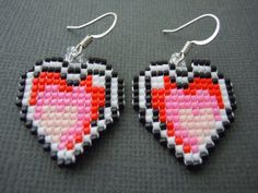 Handmade Seed Bead Pixelated Heart Earrings by Pixelosis on Etsy, $25.00