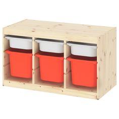 TROFAST Storage combination with boxes - light white stained pine white, orange - IKEA Ikea Trofast Storage, Kids Storage Furniture, Cute Furniture, Children Furniture, Vertical Storage, Small Storage, Plastic Box Storage, Storage Boxes