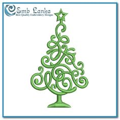 Free Green Christmas Tree Embroidery Design | Emblanka.com