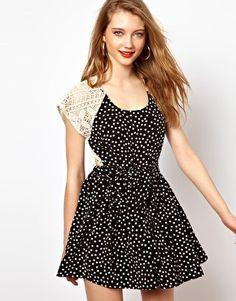 Viva Vena Marfa Dress with Lace and Polka Dot Panels