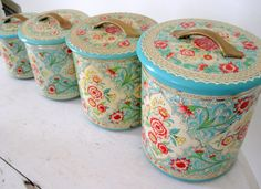 Vintage Jadeite and Rose Pink Shabby Tin Canister Set. Maybe for the sewing room!