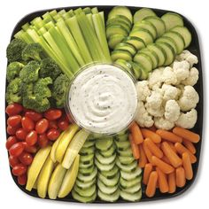 Publix Deli Garden Fresh Vegetable Platter, Small Serves 8-12. An array of carrots, celery, cucumbers, cauliflower, broccoli, tomatoes, zucchini, and yellow squash. Served with a choice of ranch or blue cheese dressing. $24.99