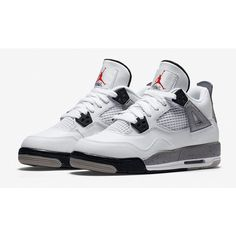 this is a Jordan shoe All Nike Shoes, White Nike Shoes, Kicks Shoes, Hype Shoes, Sports Shoes, Basketball Shoes, Jordan Shoes Girls, Air Jordan Shoes, Jordan 4 White Cement
