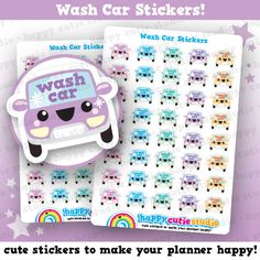 One sheet of 40 cute little wash car reminder stickers, perfect for your planner!  • Stickers measure approx. 0.5 x 0.6 inches • Sticker sheet measures 4 x 5.5 inches  Printed onto matte paper, each sticker is kiss-cut and ready to peel and stick straight into your planner!  You will receive your order in a board-backed envelope, and the stickers will be inside a waterproof sleeve.  Please note: colours may vary slightly upon printing due to different computer screens.  ----  We ❤ stickers…