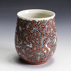 Jim Gottuso, Cup Grolleg porcelain fired in oxidation - water-etching. In Tandem Gallery • www.intandemgallery.com