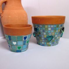 Two Hearts Mosaic Garden Yard Flower Plant Pots Mosaic Planters, Mosaic Garden, Mosaic Art Projects, Mosaic Ideas, Plant Pots, Potted Plants, Stone Mosaic, Urn, Project Ideas