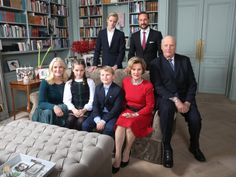 King Harald V and Queen Sonja of Norway, Crown Princess Mette-Marit and Crown Prince Haakon of Norway, Princess Ingrid Alexandra, Prince Sverre Magnus, Marius Borg Hoiby attended the Christmas photo session at Skaugum, the residence of the Crown Prince and Crown Princess of Norway in Asker, Norway, December 14, 2015.