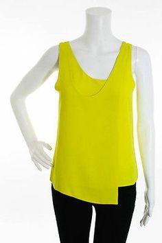 BALENCIAGA SILK Bright Yellow Scoop Neck Sleeveless Blouse Sz 36