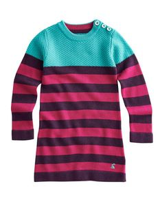 Joules null Girls Knitted Dress, Ruby.                     With a block of bright colour sitting on top of some super stripes, this is our brightest, warmest and softest dress yet. A perfect knit for the autumn and winter months. #joules #christmas #wishlist