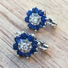 Sapphire And Diamond Earrings by BFJewelryEst1984 on Etsy