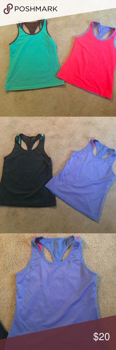 TWO racerback workout shirts. BOTH are reversible. These two racerback mesh workout tanks are both reversible. Gray/teal green and periwinkle/neon melon. Due to being reversible they do not have tags but are comparable to other reebok, Nike, Under Armour workout tanks I have. I believe they are a size large but I feel as if they run a little small which is why I never wore them. Under Armour Tops Tank Tops