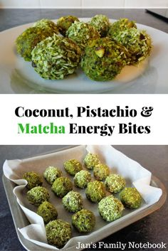 Are you looking for a healthy snack recipe to give you an energy boost? Try these Coconut, Pistachio Nut and Matcha Energy Bites, Balls.