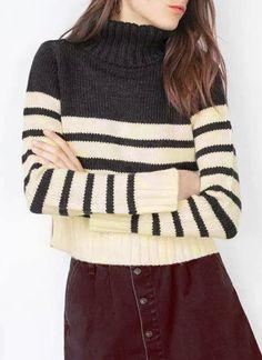 Fashionable Turtleneck Long Sleeves Striped Women's Sweater