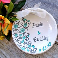 Spring Floral Ring Bearer Bowl - Personalized Ring Pillow Alternative on Etsy, $28.00