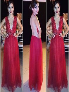 Long Custom prom dress, Red Floor-length prom dress, Appliques V-Neck prom dress, New-Arrival Tulle Evening Dress Evening Gowns, Vintage Prom Dress. PD0121121