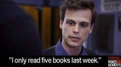 Spencer Reid is every person who loves books Book Of Life, The Book, Serie Ncis, Dr Spencer Reid, Dr Reid, Criminal Minds Quotes, Penelope Garcia, Matthew Gray Gubler, I Love Books