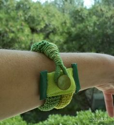 Textile bracelet - green jewelry, crochet cuff with fabric and green mother of pearl button