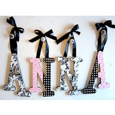 Order or DIY your little one's name spelled in pretty painted letters.