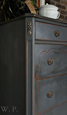 Whimsical Perspective: A Whimsical Makeover: The Graphite Dresser ~ Such a beautiful dresser makeover