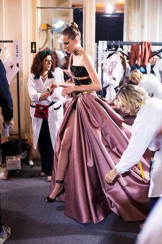 Backstage at Atelier Versace Haute Couture AW14 Paris