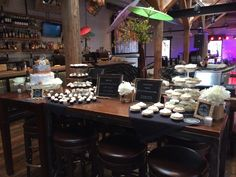 dessert buffet for a wedding reception at Virtue Feed & Grain ~ this couple reserved both floors of the restaurant, with dinner on the first floor and dancing and dessert on the second floor