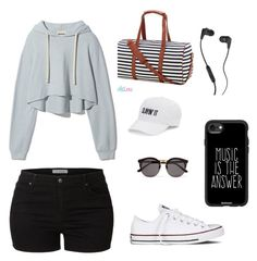 """""""Dancer"""" by hudzshaik on Polyvore featuring Converse, LE3NO, SO, Illesteva, Skullcandy and Casetify"""
